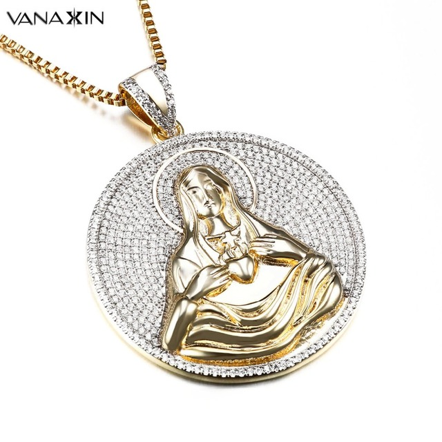 VANAXIN Jesus Cross Heart 3D Pendant Hip Hop Gold Silver Color Micro Paved  AAA Bling Bling CZ Stone Christian Jewelry Wholesale ac56e60e3