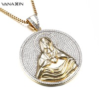 VANAXIN Women Anniversary Gifts Elegant Pendant Necklace Buddha Religion Punk Necklace Vintage Men S Present Necklace
