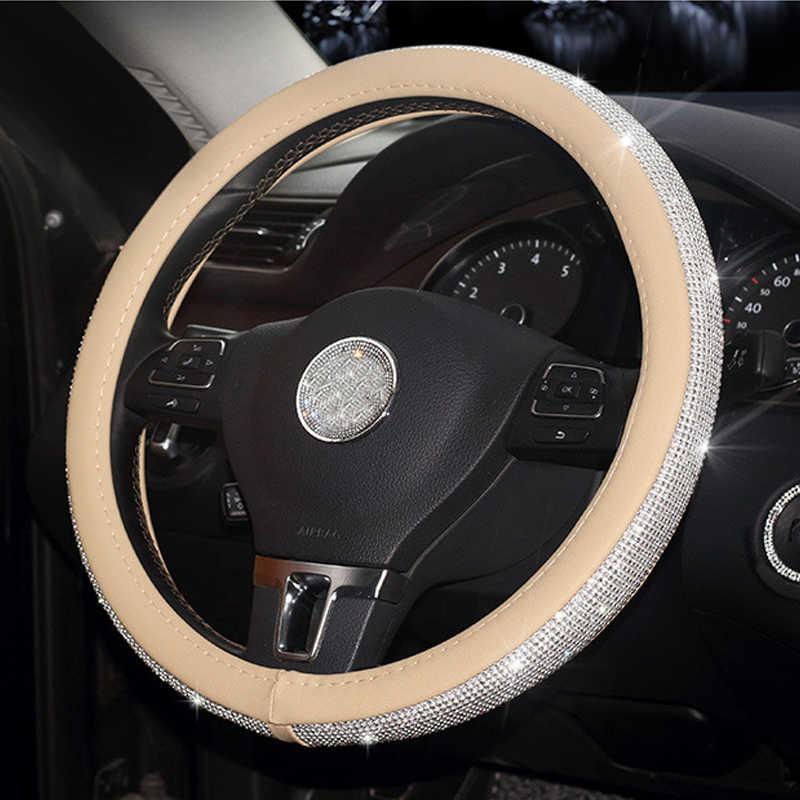 Voiture en cuir volant couvre cristal strass Auto volant couvre protecteurs accessoires intérieurs pour femmes filles