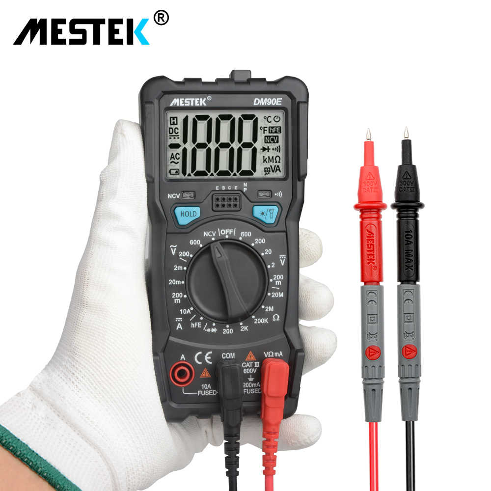 Mestek Auto Range Digital Multimeter 1999 Hitungan Backlight AC/DC Ammeter Voltmeter Ohm Ditangani Multitester Multi Meter DM90E