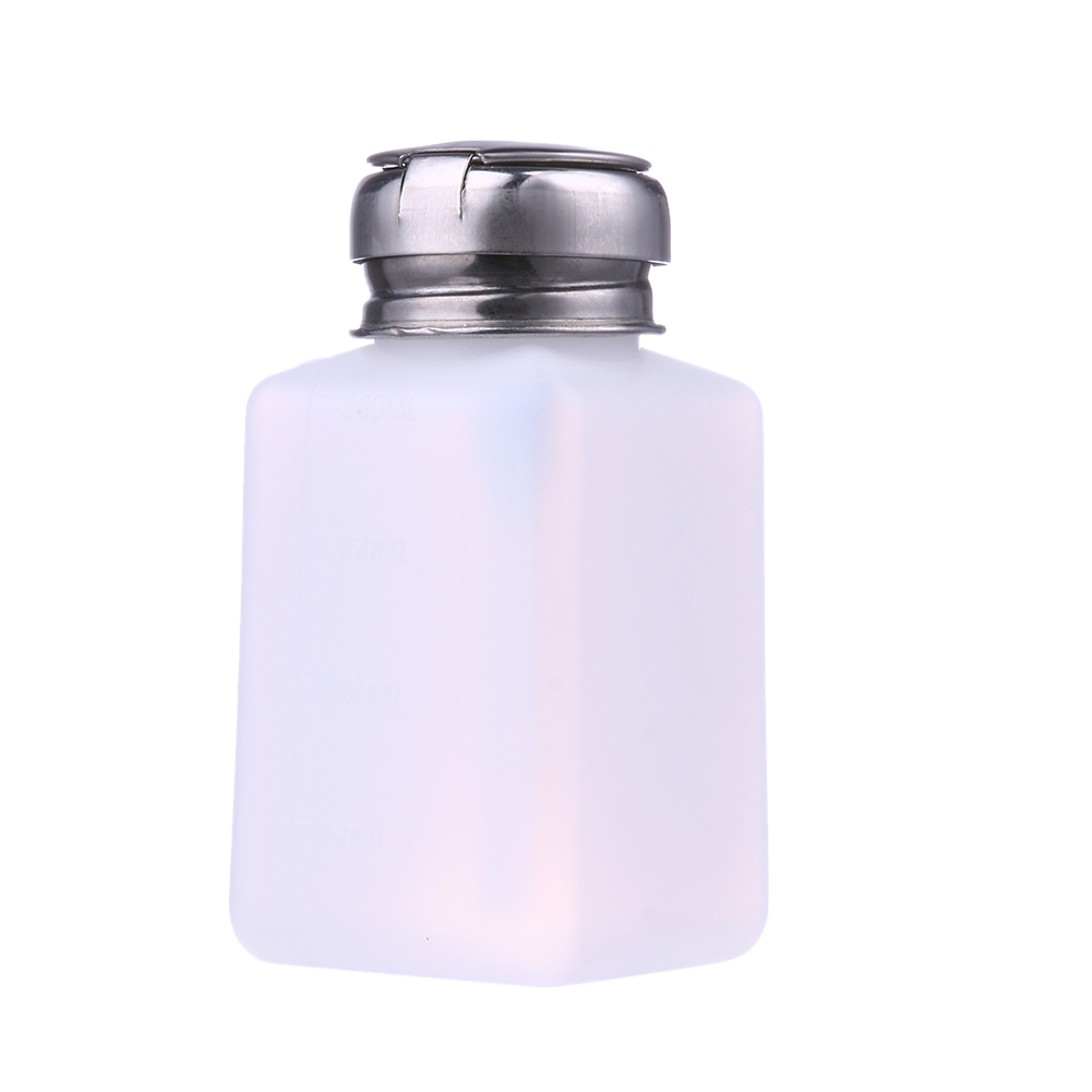 200ML Empty Pump Liquid Alcohol Press Nail Polish Remover Cleaner Bottle Dispenser Make Up Refillable Container Nail Bottle
