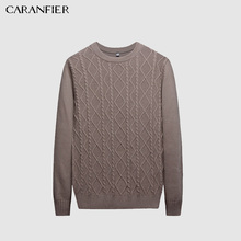 CARANFIER Sweater Men Pullover O-neck Male Brand Casual Slim Sweaters Men Solid Jacquard Hedging Men'S Sweater clothes S-XXL