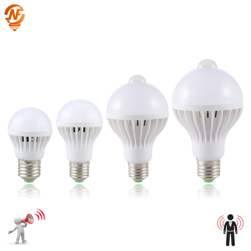 LED PIR Motion Sensor Lamp 3W 5W 220v Led Bulb 7W 9W Auto Smart Led PIR Infrared Body Sound Light E27 Motion Sensor Light