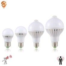 LED PIR Motion Sensor Lamp 3W 5W 220v Led Bulb 7W 9W Auto Smart Led PIR Infrared Body Sound Light E27 Motion Sensor Light