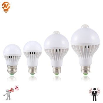 LED PIR Motion Sensor Lamp 3W 5W 220v Led Bulb 7W 9W Auto Smart Infrared Body Sound Light E27