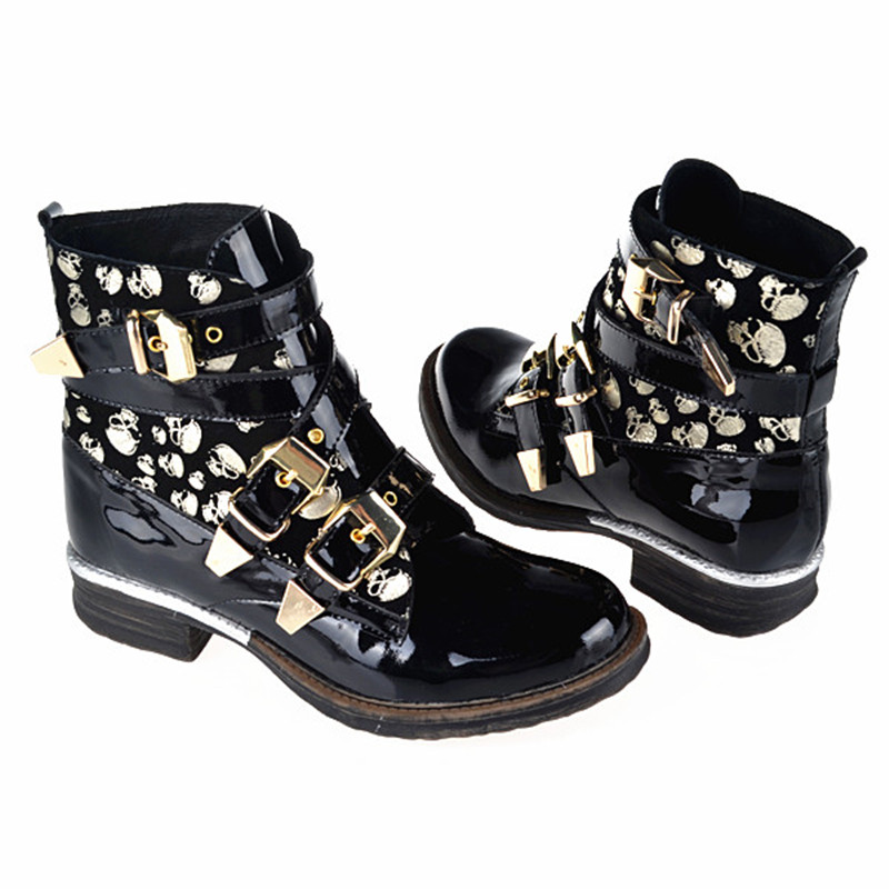 Choudory 2017 High Quality Botas Mujer Flat Combat Punk Ankle Shoes Women Biker Genuine Leather Cowboy Boots