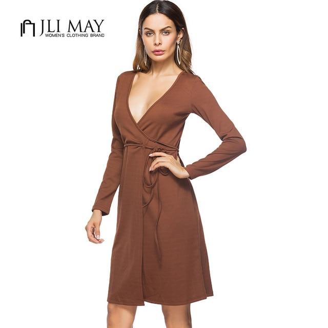 5d7e3cb6fc6d JLI MAY Casual women dress Brown black knitted sexy deep v-neck midi long  sleeve autumn womens clothing office ladies dresses
