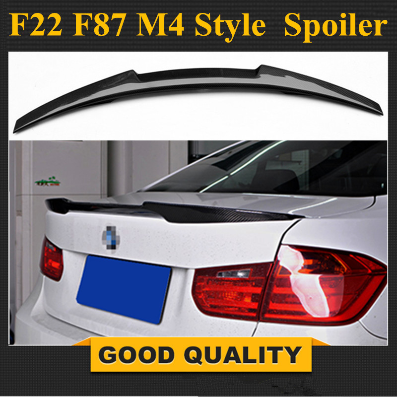 F22 M4 Style Carbon Fiber Spoiler F23 F87 M2 Wing Rear Trunk Lip For BMW 2 Series 2014 - 2016 2-Door Coupe M235i 218i 220i цена