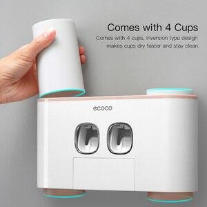 Image 3 - ECOCO support de brosse à dents mural Auto pressage distributeur de dentifrice brosse à dents dentifrice tasse stockage accessoires de salle de bain support de rangement brosse à dents et dentifrice avec 4 tasses