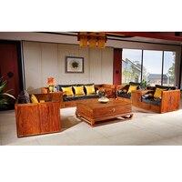 Antique Mahogany Box Sofa Set Solid Wood Small Rectangle Tea Table Hedgehog Redwood Classical Living Room Furniture 5 Pcs/Set