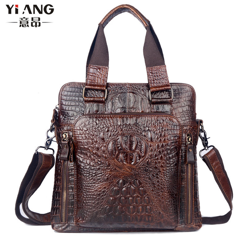 Men's First Layer Genuine Leather Cowhide Crocodile Grain Pattern Business Handbag Briefcase Messenger Shoulder Bag Handbags