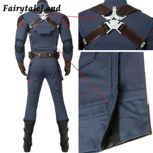 Image 5 - Avengers Endgame Captain America Cosplay costume full set Outfit Captain America Steve Rogers Jumpsuit customized 5 star Vest