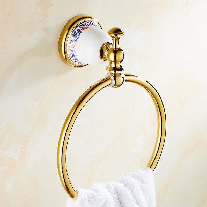 2 Style Vintage Brass Towel Rack Ring Wall Mounted Gold