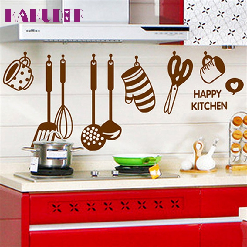 KAKUDER DIY Removable Happy Kitchen Wall Decal Vinyl Home Decor Wall Stickers New wall stickers home decor wall decal poster