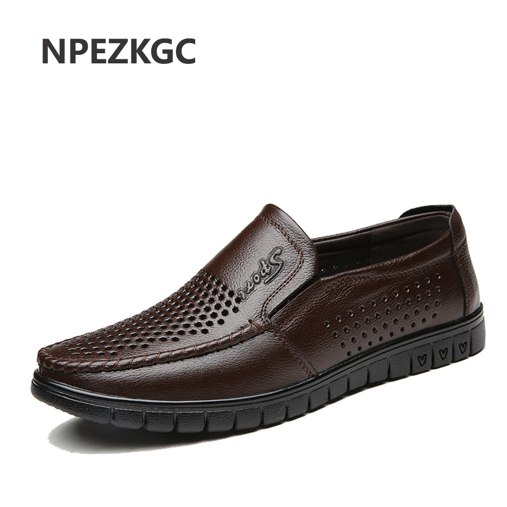 NPEZKGC Spring Summer Men Shoes Men's Leather Loafers Non-slip Casual Middle-aged Wear-resistant Soft Bottom Business Shoes Man
