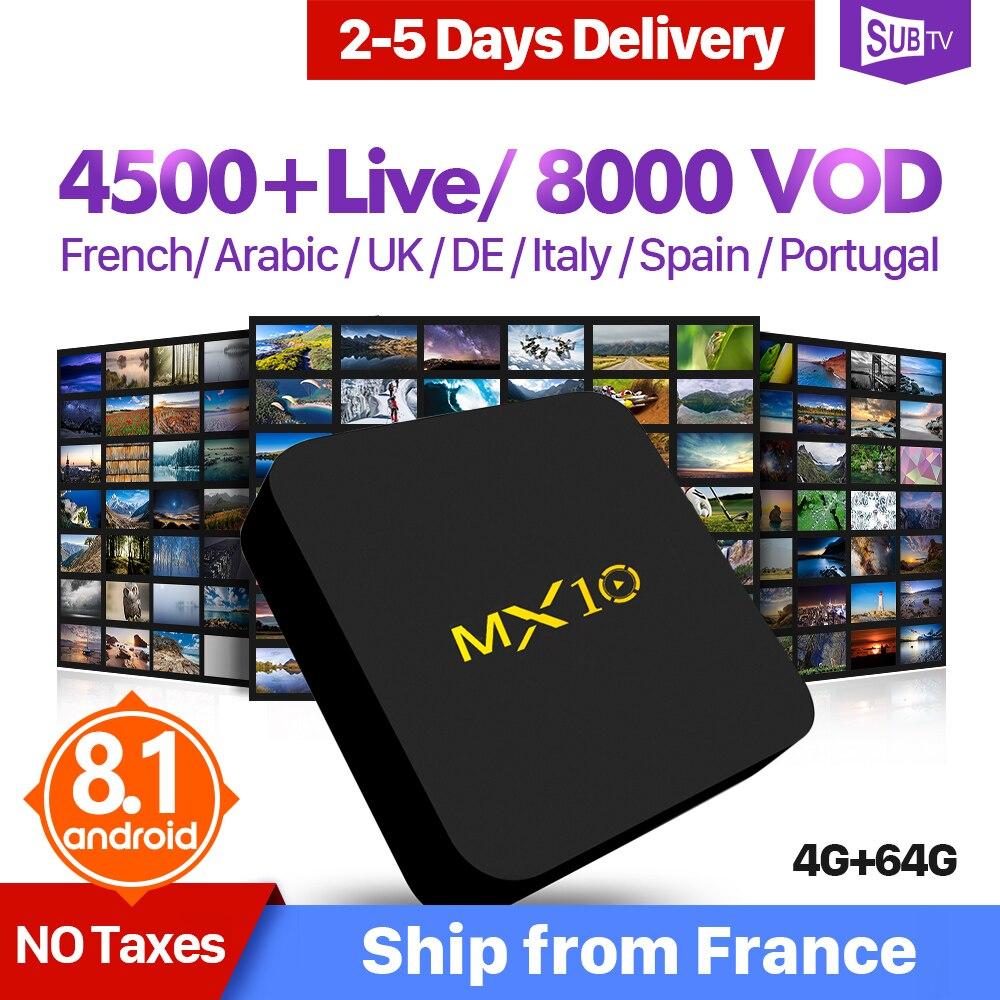 IPTV Frankrijk Arabisch Italië Nederland QHDTV IUDTV SUBTV MX10 4 + 64G Android 8.1 Zweden IPTV Code Spanje Frans IP TV Abonnement-in Set-top Boxes van Consumentenelektronica op  Groep 1