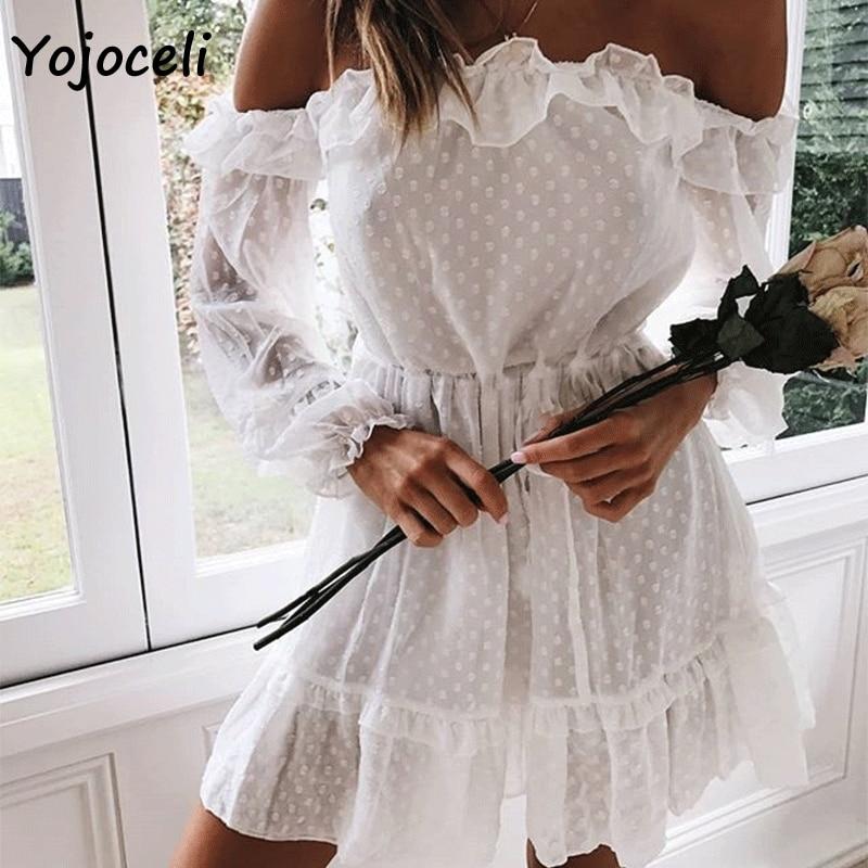Yojoceli 2018 nouveau automne chic Jacquard robe froissée épaules dénudées pour femme mini robe courte mignon lanterne parti manches robe de club