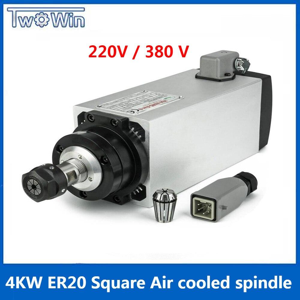 Moteur de broche carré refroidi par Air de 4 kilowatts pour la gravure de CNC mouture 220 v ou 380 V AC ER20 avec 4 roulements pièces grande vitesse