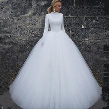 2019 Muslim Long Sleeve High Neck Wedding Dresses Top Lace Floor Length  Simple Women Bridal Wedding Gowns robe de mariage d26a2ac2caa6