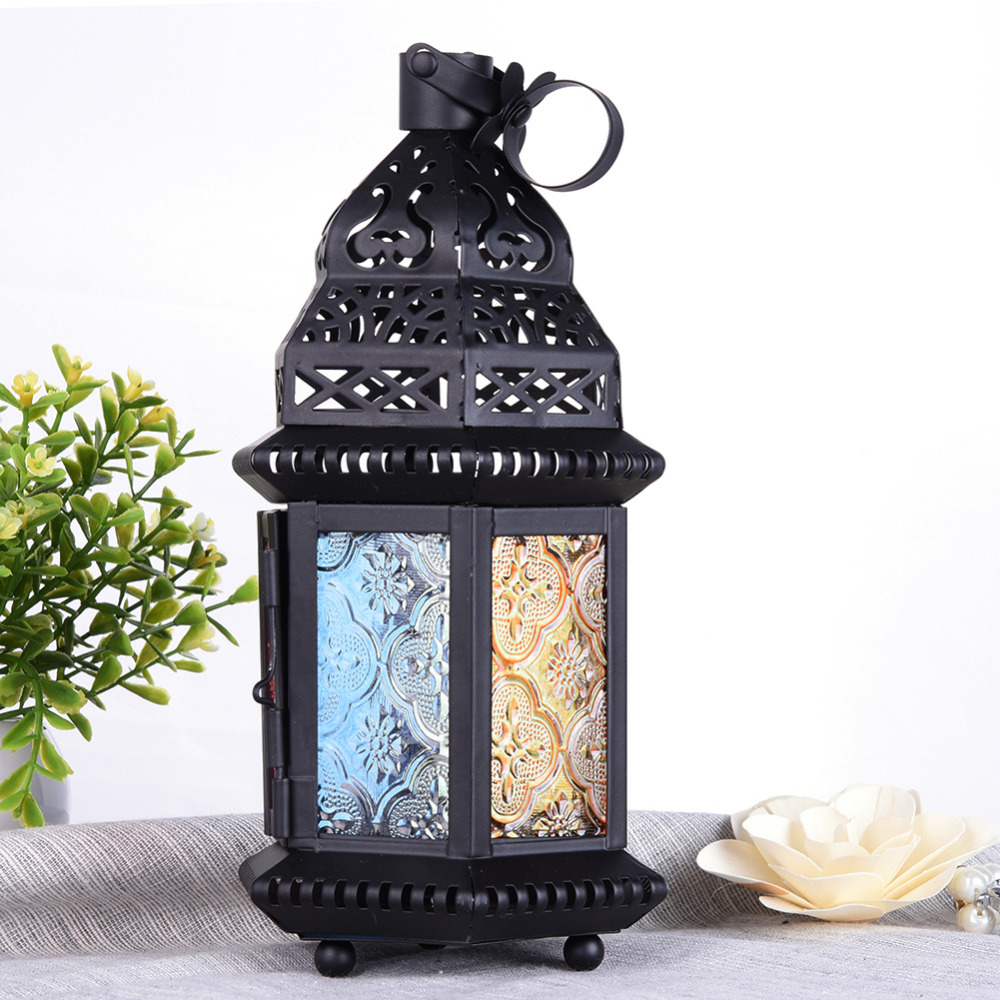 Retro Gifts & Decor Moroccan Style Matte Black Cast Iron Handmade Glass Magic Rainbow <font><b>Candle</b></font> Holder Lantern for party wedding