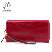 Jamarna Leather Wristlet Long Wallet Zipper Coin Purse Mobile Phone Pocket Card Holder Oil Wax Wallet