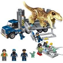 лучшая цена Jurassic World Transport Truck Dinosaur Model Building Blocks Tyrannosaurus Rex Toys Bricks Compatible With legoe children gift