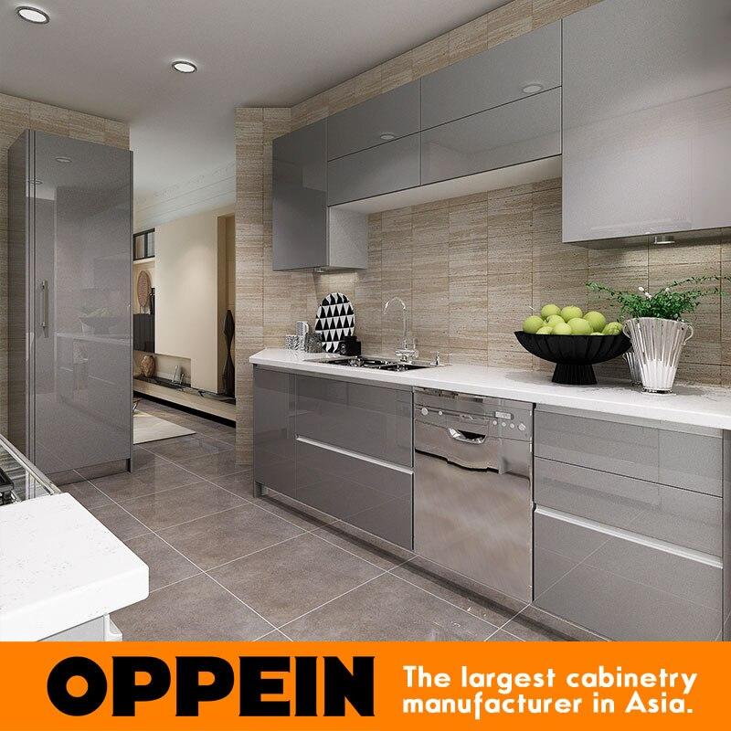 2016 Oppein New Design Grey Acrylic Finish Kitchen Cabinet Furniture