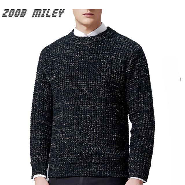 ZOOB MILEY Hombres Suéter de Otoño Caliente Del Invierno Del O-cuello de la Alta Calidad Gruesa Masculina Jumpers Suéteres Tejidos de Punto de Moda de Regalo de Navidad