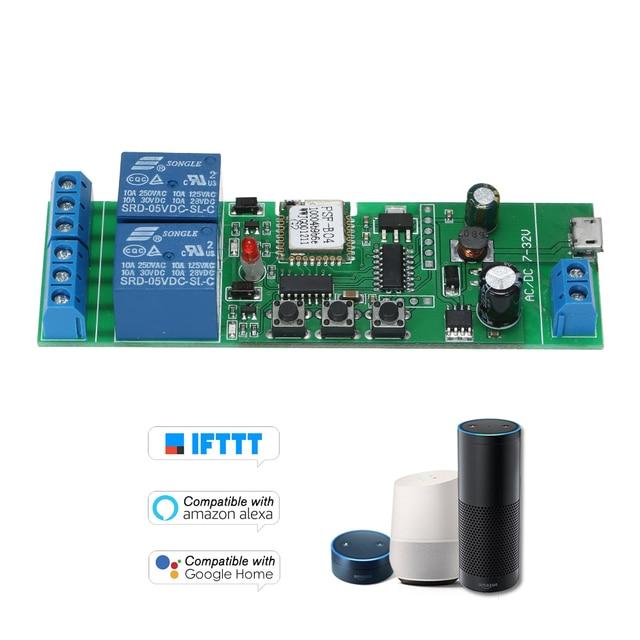 Interruptor Wifi inteligente módulo Universal 2CH USB DC5V/7-32 V interruptor inalámbrico temporizador teléfono Control remoto para alexa de Google