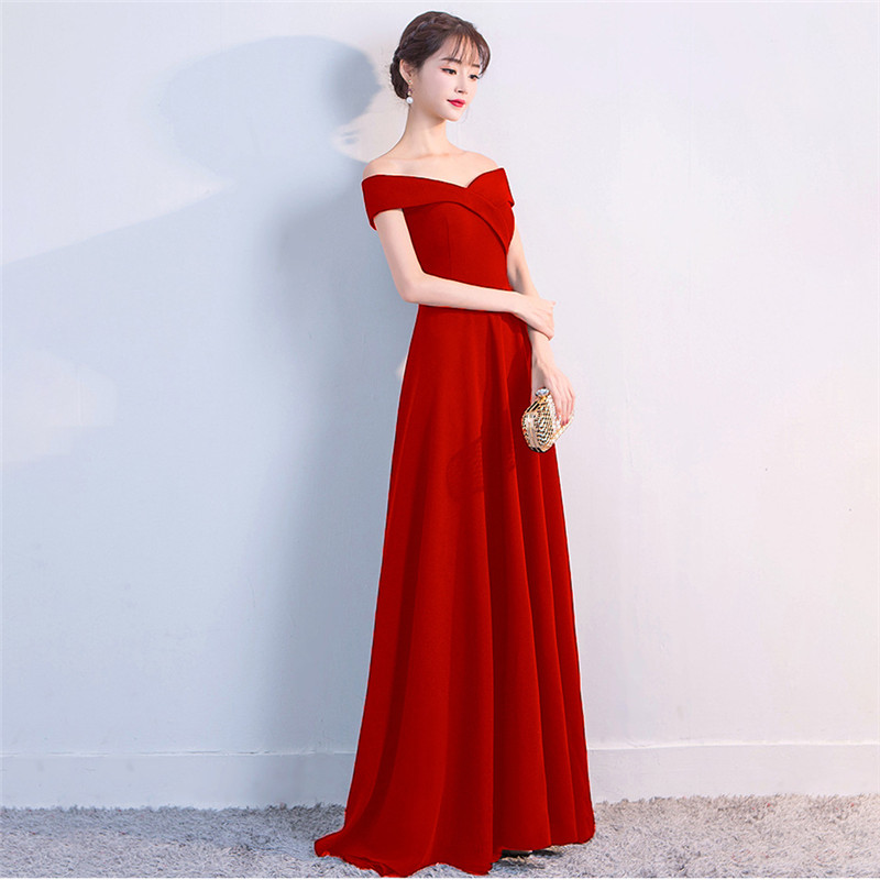 It's Yiiya evening dresses Boat neck Zipper back A-line Party gowns Elegant Backless Short sleeve Floor-length Prom dress C152