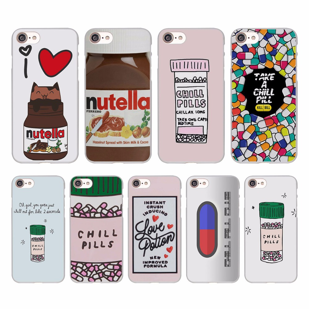 Забавные озноб таблетки шоколад Nutella Дизайн Жесткий Белая кожа чехол для Apple iPhone SE 5 5S 5C 7 7 Plus 6S 6 plus