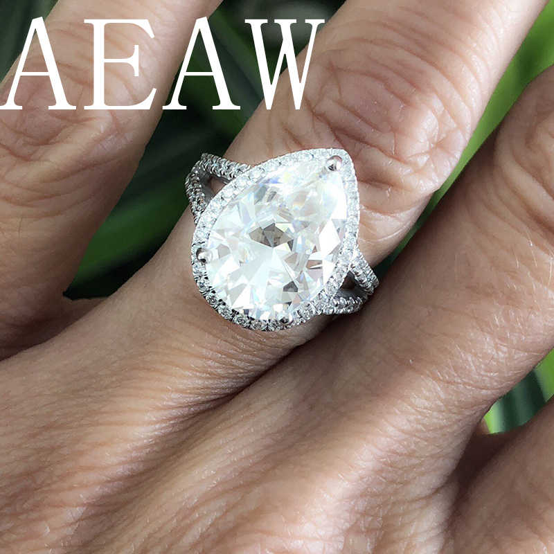 aeeab67e3be78 AEAW Pear Shape Engagement Ring 5.5ct Pear Shape Supernova Moissanite  Engagement Ring for Women Solid 14K White Gold