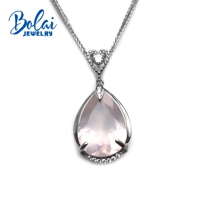 bolaijewelry,natural rose quartz pear13*18mm gemstone pendant in 925 sterling silver romantic unique jewelry for women best gift