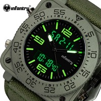 INFANTRY Top Brand Men Watch Sports Military Tactical Quartz Watches LED Analog Digital Durable Nylon Strap