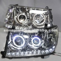 For Toyota Land Cruiser LC100 4700 FJ100 2006 2007 Year LED Headlight Front Lamp Silver Housing