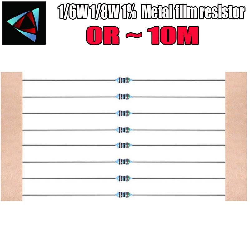100pcs 1/8W 1/6W 1% filme De Metal resistor 0R ~ 10M 220R 330R 1K 2.2K 3.3K 4.7K 47 22 10K K K 100K 100 220 330 2m 1m ohm
