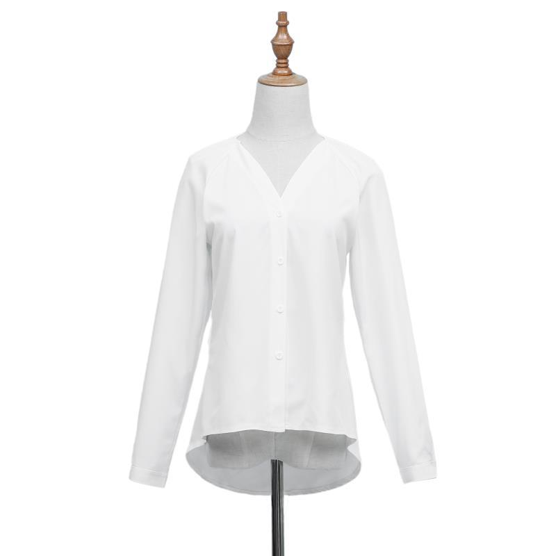 Plus Size 5XL Spring Summer Women Tops Long Sleeve Casual Chiffon Blouse Female V-neck Work Wear Solid Color Office Lady Shirts