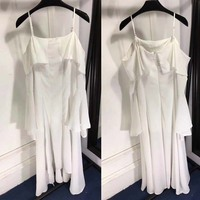 Casual dress sexy sling bare shoulder dresses for women fashion irregular skirt summer dress white beach dress sarafans 2018