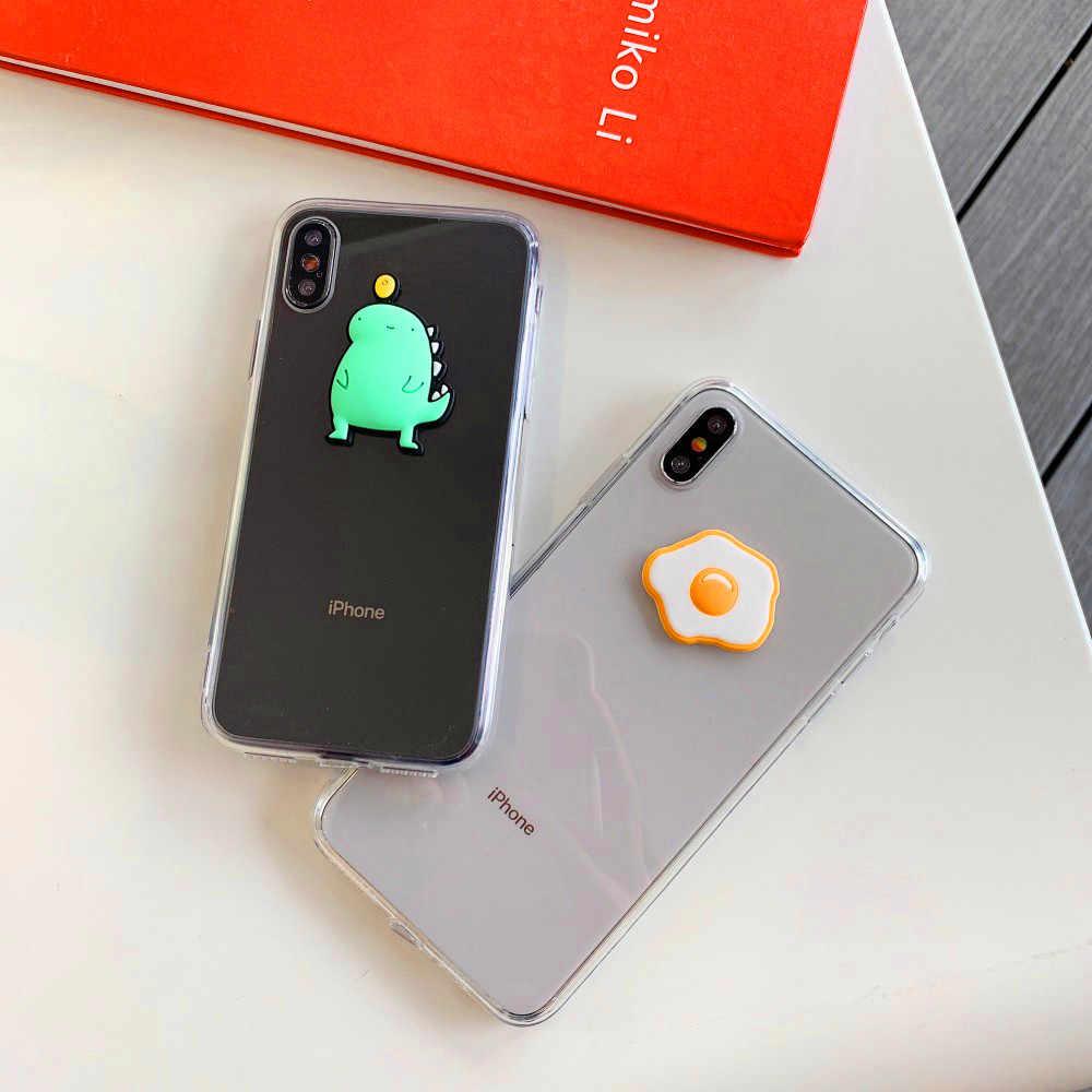 מצחיק 3D ביצת דינוזאור שקוף TPU מקרה טלפון עבור iPhone 8 בתוספת XR X 6 בתוספת XS מקס רך TPU כיסוי אחורי עבור iPhone XS 7 6S 8 6