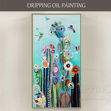 Colorful Canvas Painting Artist Hand-painted Vivid Colors Plants Oil Painting Birds and Cactus Oil Painting for Living Room