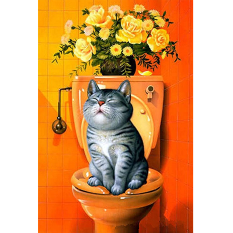 DIY 5D Diamond Painting Cat in Toilet Painting Mosaic Needlework Cross Stitch Home Decor ...