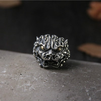Natural 925 Sterling Silver Ring Carving Brave Troops Mysterious Animal Mens Ring Adjustble Size New Arrivals 2019 Aneis