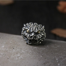 Natural 925 Sterling Silver Ring Carving Brave Troops Mysterious Animal Mens Adjustble Size New Arrivals 2019 Aneis
