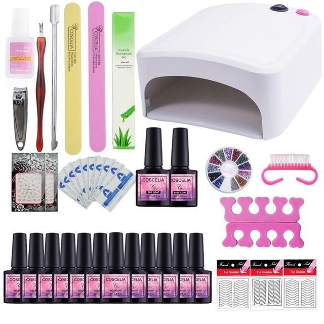 40 Colors For Choose Gel Nail Polish Kit Nail Art Set 36W UV Lamp ...