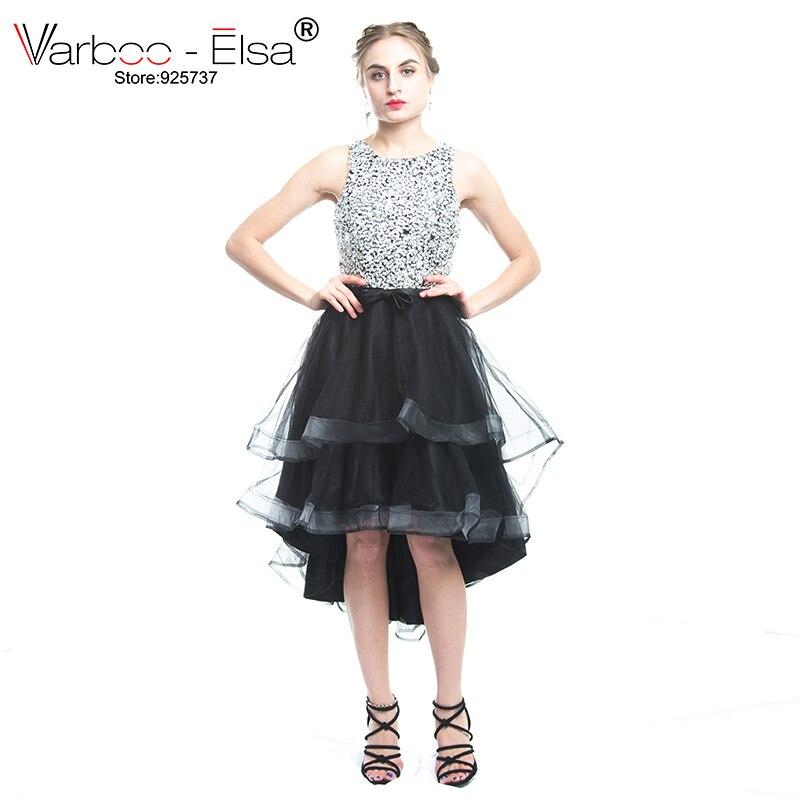 VARBOO_ELSA Bling Bling Crystal Evening Dress 2018 New Short Front Long Back Prom Dresses Black Tulle Formal Party Gown In Stock