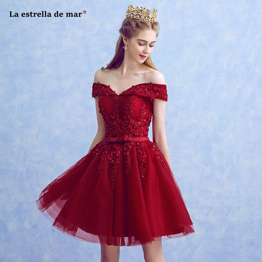 Plus size vestidos de boda invitados2019 new lace beaded Boat NeckA Line burgundy   bridesmaid     dresses   short robe mariee princesse