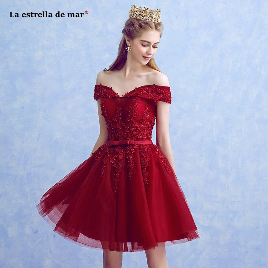 Vestidos de madrinha2018 new tulle beaded Boat Neck short sleeve A Line red burgundy   bridesmaid     dresses   short plus size cheap