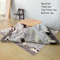 4pcs Set Japanese Furniture Kotatsu Set Table Futon Carpet Heater For Home And Living Room