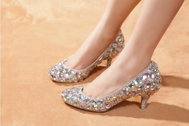 2018 High Heels For Prom Rhinestone Wedding Shoes Sparkly Glitter Bridal Middle Heel Woman