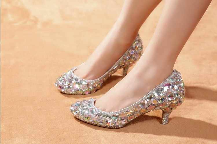 0377d1f2d2 2018 High Heels For Prom Rhinestone Wedding Shoes Wedding Sparkly Glitter  Bridal Shoes Middle heel woman